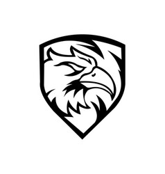 head eagle on shield vector image