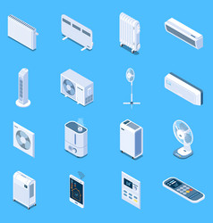home climate control isometric icons vector image