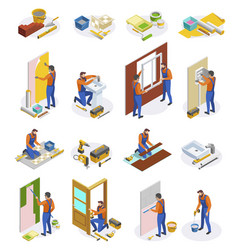 Home repair isometric icons set vector