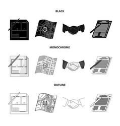 House plan documents for signing handshake vector