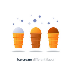 Ice cream cone chocolate glazing tasty flavor cool vector