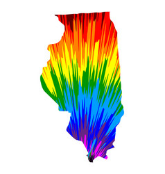 Illinois - map is designed rainbow abstract vector