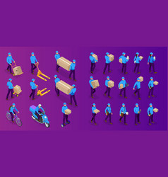 isometric big set delivery man and woman in vector image