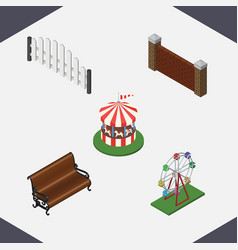 isometric street set of sitting carousel vector image