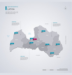 latvia map with infographic elements pointer marks vector image