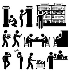 library librarian bookstore student pictograms a vector image