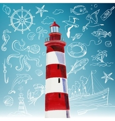 lighthouse and hand-drawn icons of marine theme vector image vector image