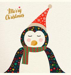 merry christmas cute retro penguin greeting card vector image