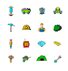 mining industry icons set cartoon vector image