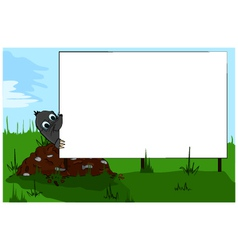 Mole on molehill looking at a billboard vector