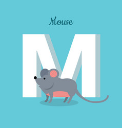 Mouse with letter m isolated abc alphabet vector