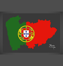 Norte portugal map with portuguese national flag vector