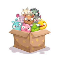 paper box full of round stuffed animal toys vector image