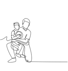Parenting family concept single line drawing vector