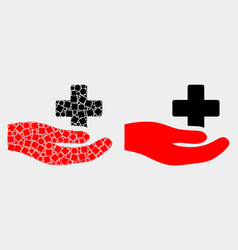 pixelated and flat medical donation hand vector image