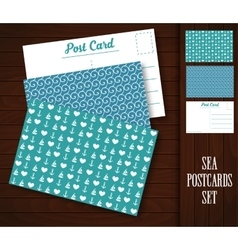 Postcard with sea patterns vector image