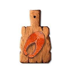 raw salmon fish on cutting board vector image