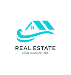 real estate with wave logo vector image