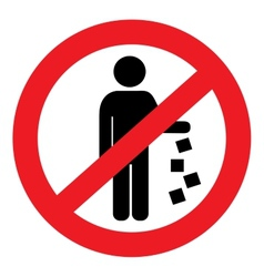 Round sign prohibiting littering vector