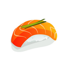 Salmon sushi or sashimi wrapped with seaweed and vector