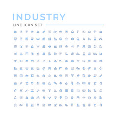 Set color line icons industry vector