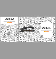 set of cashback service banners save your money vector image