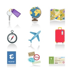 Set of colored travel icons vector