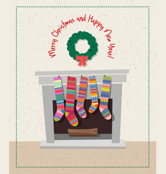 set of colorful christmas stockings vector image
