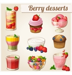 Set of food icons Berry desserts vector