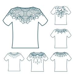Set of white blank t-shirt with doodle ornament vector