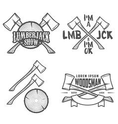 Set vintage lumberjack design elements vector
