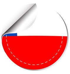 sticker template for chile flag vector image