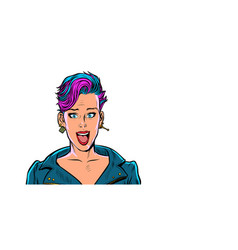 surprised beautiful woman with short fashionable vector image