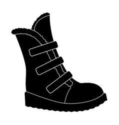 Tall winter boots made of wool with velcro shoes vector