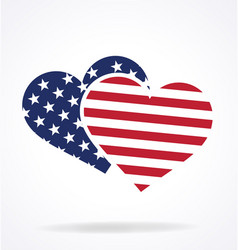 twin hearts usa flag vector image