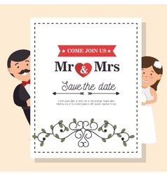 Wedding card vintage mr and mrs design graphic vector