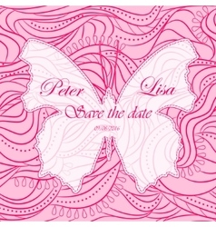 Wedding invitation waves background witn butterfly vector