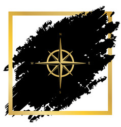 Wind rose sign golden icon at black spot vector