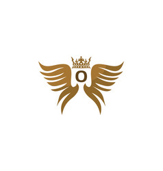 wing shield crown initial o vector image