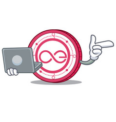 With laptop aeternity coin character cartoon vector