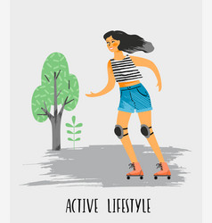 Woman in roller skates vector