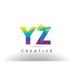 Yz y z colorful letter origami triangles design vector