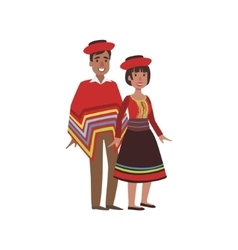 Couple in peru national clothes vector