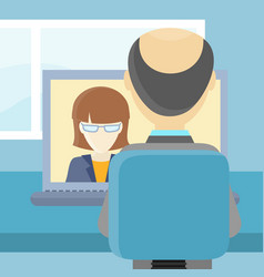 rear view closeup of a man on the computer vector image