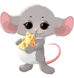 beautiful mouse with cheese vector image