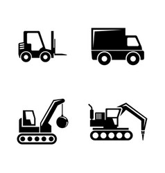 construction vehicles simple related icons vector image vector image