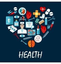Medical symbols poster in heart shape vector image vector image