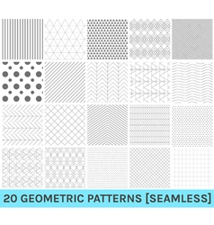 Set of 20 abstract geometric blue patterns2 vector image