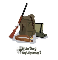 Set of military hunting equipment with rifle vector image