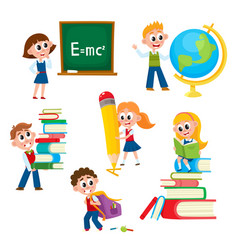 cartoon comic kids children at school vector image vector image